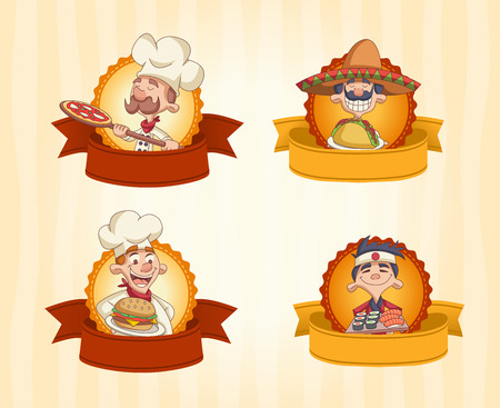 Vector banners with cartoon chefs holding and holding tray with food.