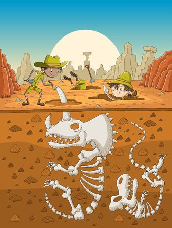Cartoon paleontology kids working on excavation.