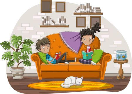 Teenagers reading books in the living room. Cartoon couple reading on sofa. 일러스트
