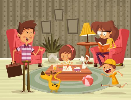 Happy cartoon family in the living room.