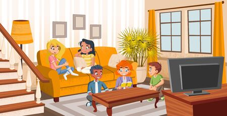 Group of cartoon young people on sofa. Teenager friends.