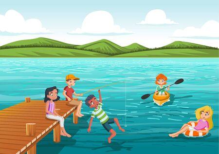 Grupo de adolescentes saltando desde el muelle de madera al agua. Los niños se divierten saltando en el agua del lago. Ilustración de vector