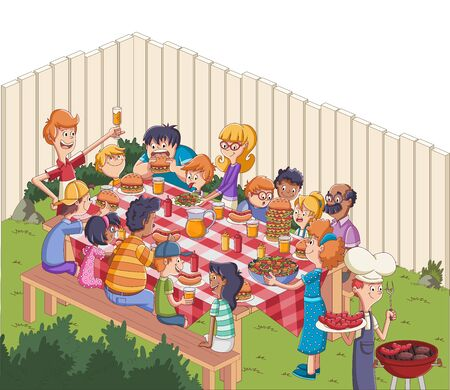 Cartoon friends having barbecue. Family in the yard on a sunny day. 일러스트