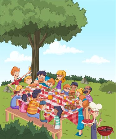 Cartoon friends having a barbecue. Family in the park on a sunny day.