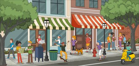 Street of a city with cartoon young people 일러스트