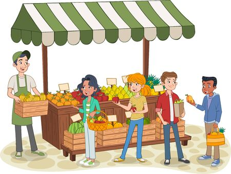 Group of cartoon teenager buying fruits at a street market stand