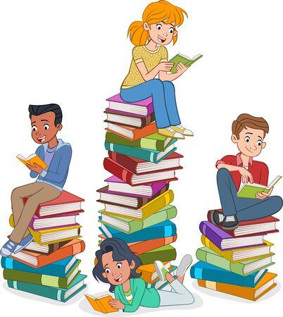 Adolescents de dessin animé lisant des livres. Étudiants sur des piles de livres.