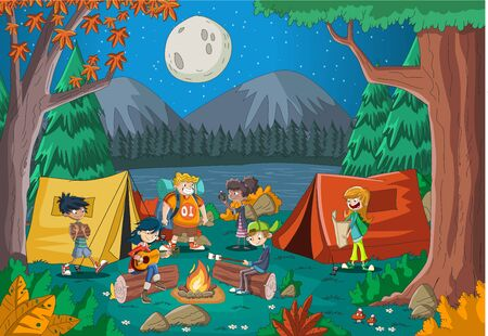 Cartoon teenagers around a campfire at night. Camping with kids and tent.