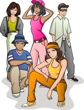 Groupe de jeunes de dessin animé. Adolescents Vecteurs