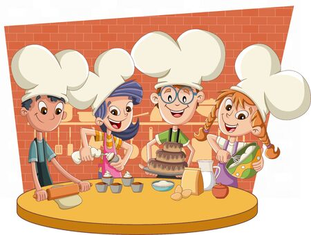 Cartoon chefs cooking. Kids baking cake and cupcakes.