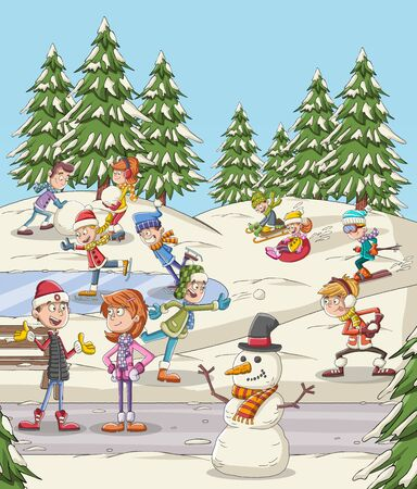 Cartoon people having fun in the park with snow