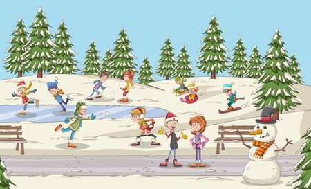 Cartoon people having fun in the park with snow. Winter nature landscape holiday.