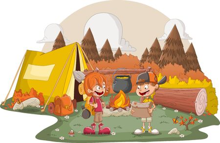 Cartoon children around a campfire. Camping with kids and tent. 일러스트