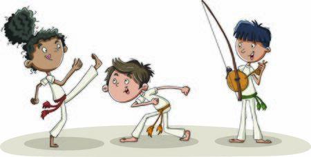 Niños de dibujos animados practicando movimientos de capoeira. Bailarines de Capoeira. Ilustración de vector