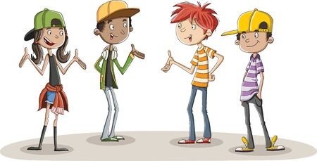 Group of cartoon young people talking.