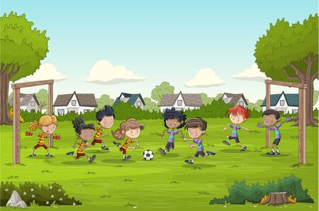Colorful park in the city with cartoon children playing soccer. Football in suburb neighborhood. 일러스트