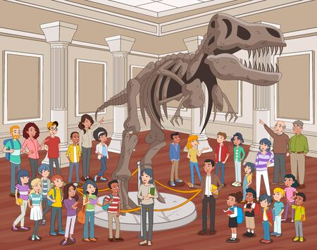 Group of people watching dinosaur skeletons at Archeology Museum. 일러스트