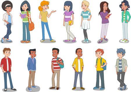 Gruppe junger Leute der Karikatur. Teenager-Studenten. Vektorgrafik