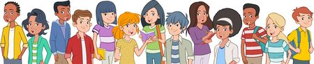 Group of cartoon young people. Teenager students. 일러스트