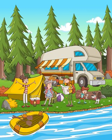 Cartoon family camping by the river.
