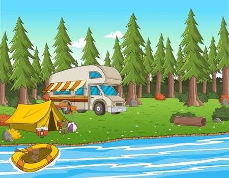 Cartoon camping tent by the river. Camping van on the nature.
