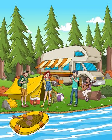 Cartoon teenagers in the nature camping. Camping with van and tent.