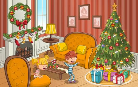 Happy cartoon children looking at Christmas tree with gifts. 일러스트