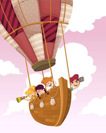 Cartoon kids inside wooden boat on a hot air balloon flying on the sky 일러스트