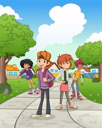 Cartoon teenagers in suburb neighborhood. Green park landscape with grass, trees, and houses. 일러스트