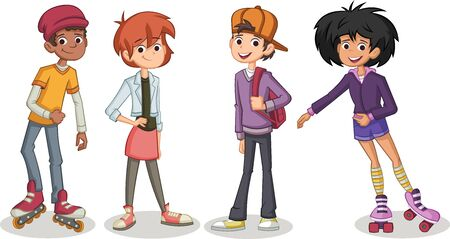Group of cartoon young people. Teenagers 일러스트