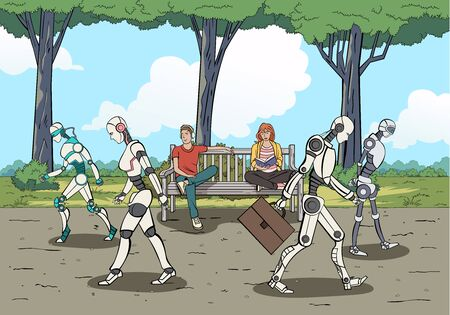 Modern robots walking in the park while humans rest on the bench. Working cyborgs in a hurry. 일러스트