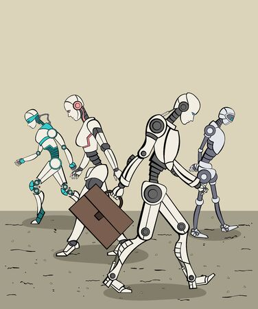 Group of modern robots walking. Cyborgs with artificial intelligence technology.