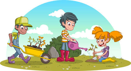 Kids planting trees on green park.