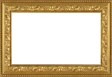 leaves frame: art picture frame golden  isolated on white background