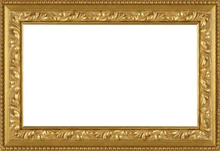 marco madera: arte marco de oro aisladas sobre fondo blanco Foto de archivo