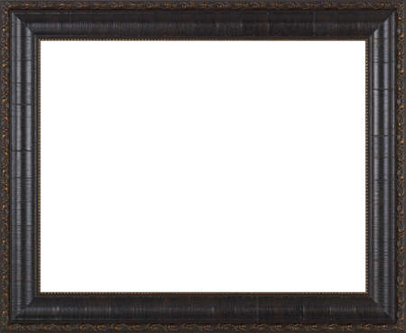 black and white image: Black picture frame isolated on white background