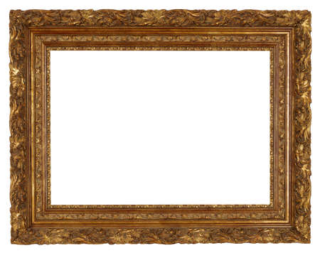 old picture: art picture frame golden  isolated on white background