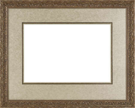 art exhibition: art picture frame golden  isolated on white background