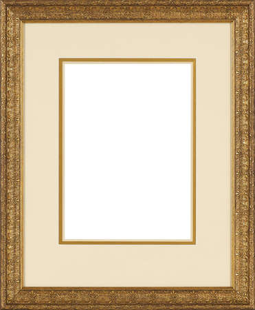 swirls: art picture frame golden  isolated on white background