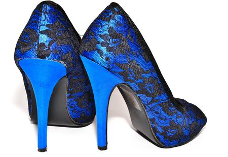 Beautiful blue woman shoes with high heels photo