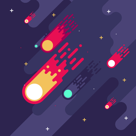 Falling meteors in flat style illustration