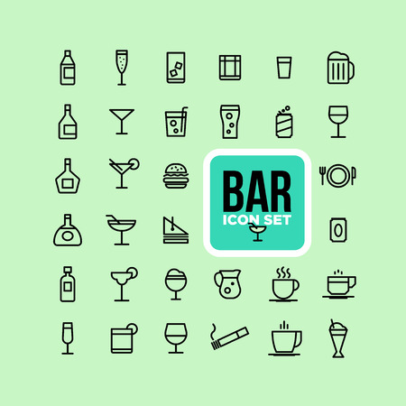 Drink alcohol beverage icons set.