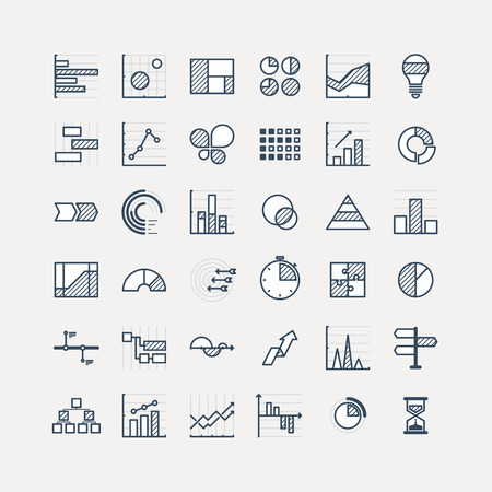 Business data market elements dot pie bar charts diagrams and graphs flat icons set. Statistic and data, information infographic. Vector illustration. Çizim