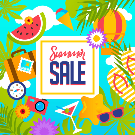 Summer Sale banner with pieces of ripe fruit, berries on colorful background. Vector eps 10 format Çizim