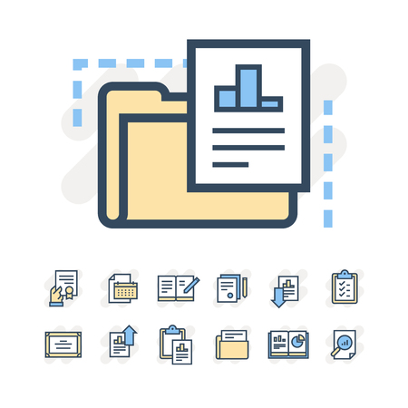 Business documents icons Çizim