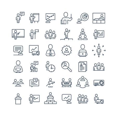Simple jeu de gens d'affaires connexes Icônes de ligne. Contient des icônes telles que réunion en tête-à-tête, lieu de travail, communication d'entreprise, structure d'équipe et plus encore. 48x48 Pixel Parfait.