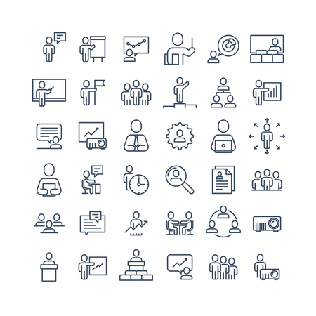 Simple Set of Business People Related Line Icons. Contains such Icons as One-on-One Meeting, Workplace, Business Communication, Team Structure and more.Editable Stroke. 48x48 Pixel Perfect. Ilustração