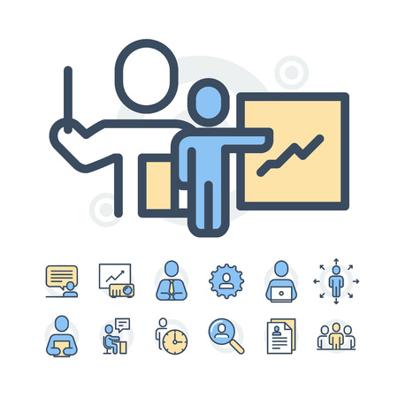 Simple Set of Business People Related Line Icons. Contains such Icons as One-on-One Meeting, Workplace, Business Communication, Team Structure and more.Editable Stroke. 48x48 Pixel Perfect. Çizim