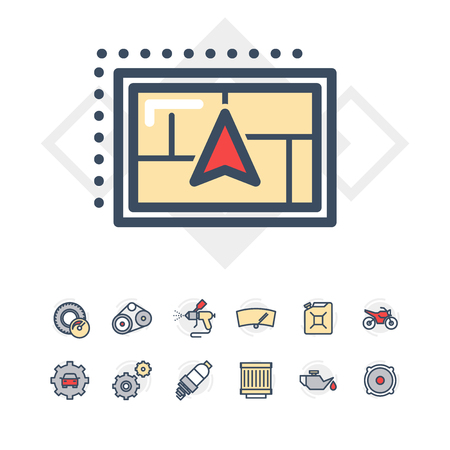 Car service icons set. Line style vector illustration.
