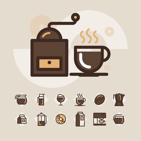 Insieme dell'icona di web del profilo - beva il caffè, tè